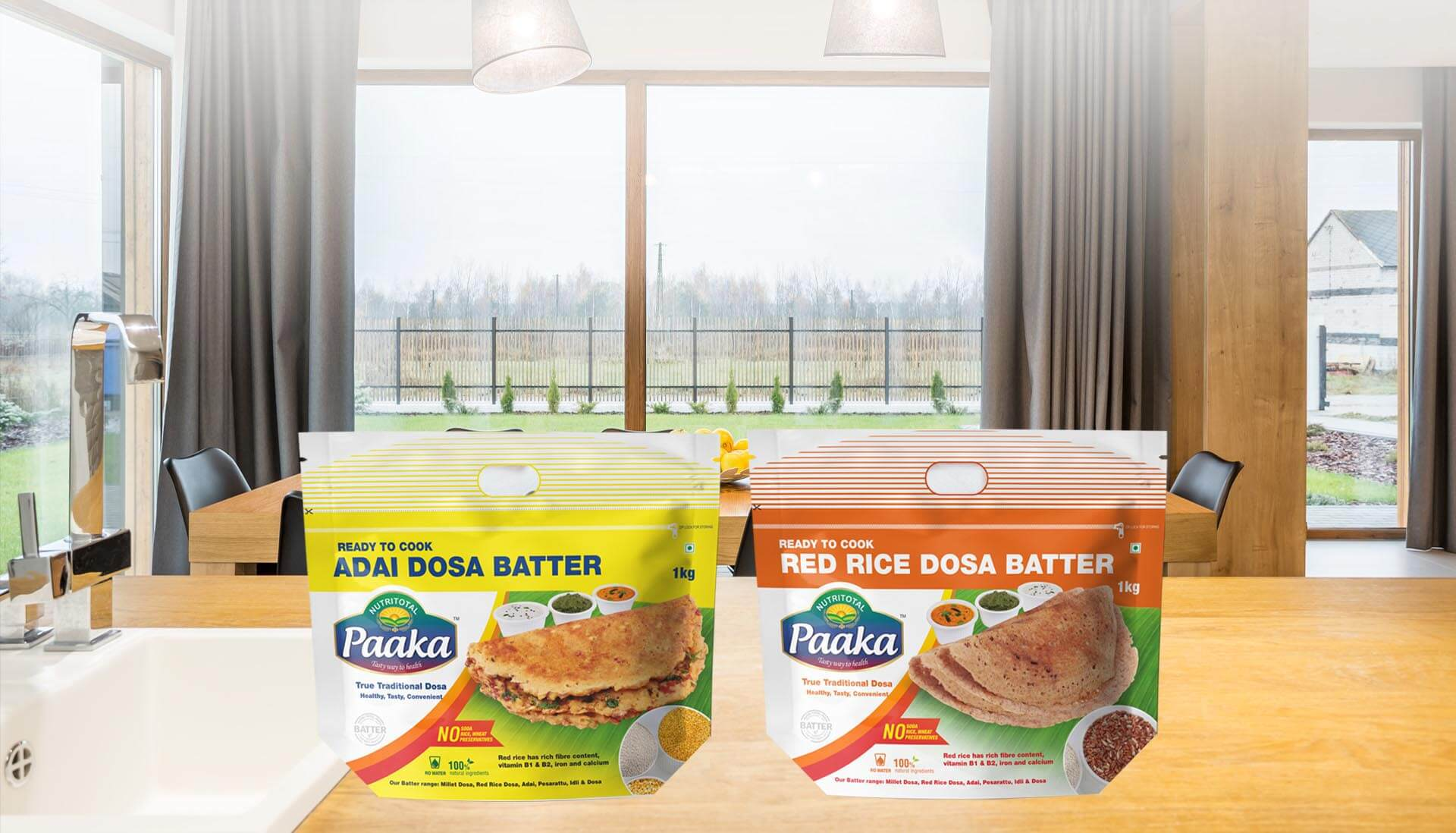 Adai Dosa Batter, Red Rice Dosa Batter